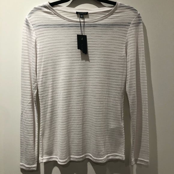 Dynamite Tops - DYNAMITE / NWT white sheer striped long sleeve tee